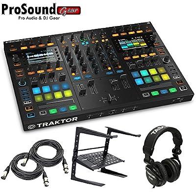 Native Instruments Traktor Kontrol S8 DJ Digital Controller - Free laptop Stand, Tascam DJ Headphone - (2) XLR Cables 15Ft each