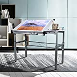 Yaheetech Height Adjustable Multifunctional Drafting Table Arts Craft Table Drawing Table Painting Table Desk Writing Workstation Side Table Folding Dual Top White