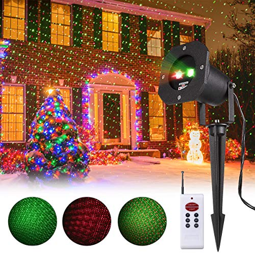 Projector Green Star Laser (Christmas Projector Lights, Smart&green Lighting Static Laser Christmas Lights Outdoor, Red and Green Decoration Projector Lights Lamp with RF Remote for Christmas Halloween Birthday Wedding Party)