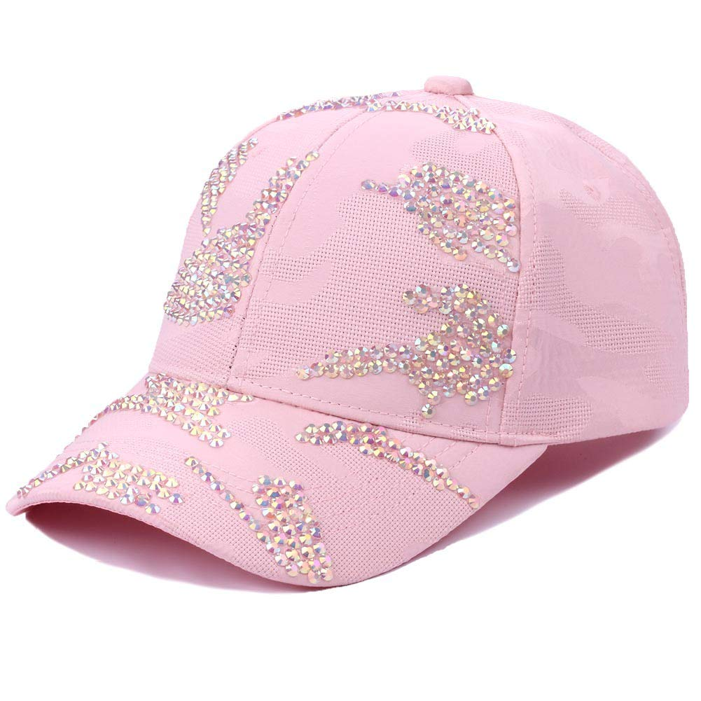 Color : Pink Fashion Visor Pattern Breathable Mesh Hat Adjustable Outdoor Sun Hat Womens Fashion Solid Color Diamond Irregular Map Baseball Hat Styling