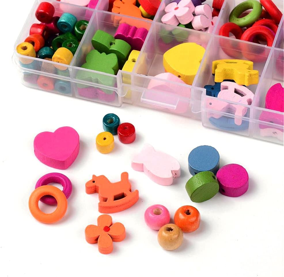Amazon Com Sodacraft Kids Wooden Beads Kit For Jewelry Making Crafts Assorted Colorful Shapes Sizes In Storage Container Box Toys Games
