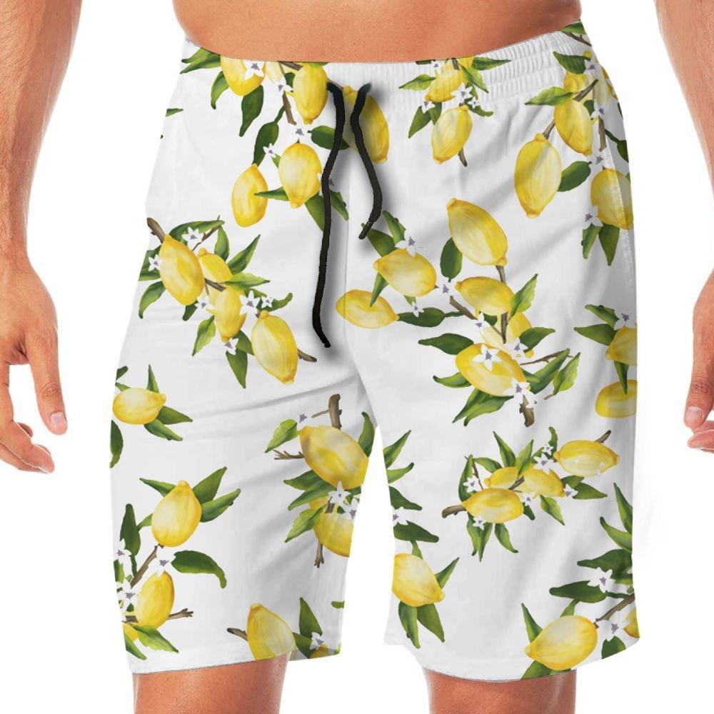 STDKNSK9 Mens Lemons Board Shorts Swim Trunks No Mesh Lining