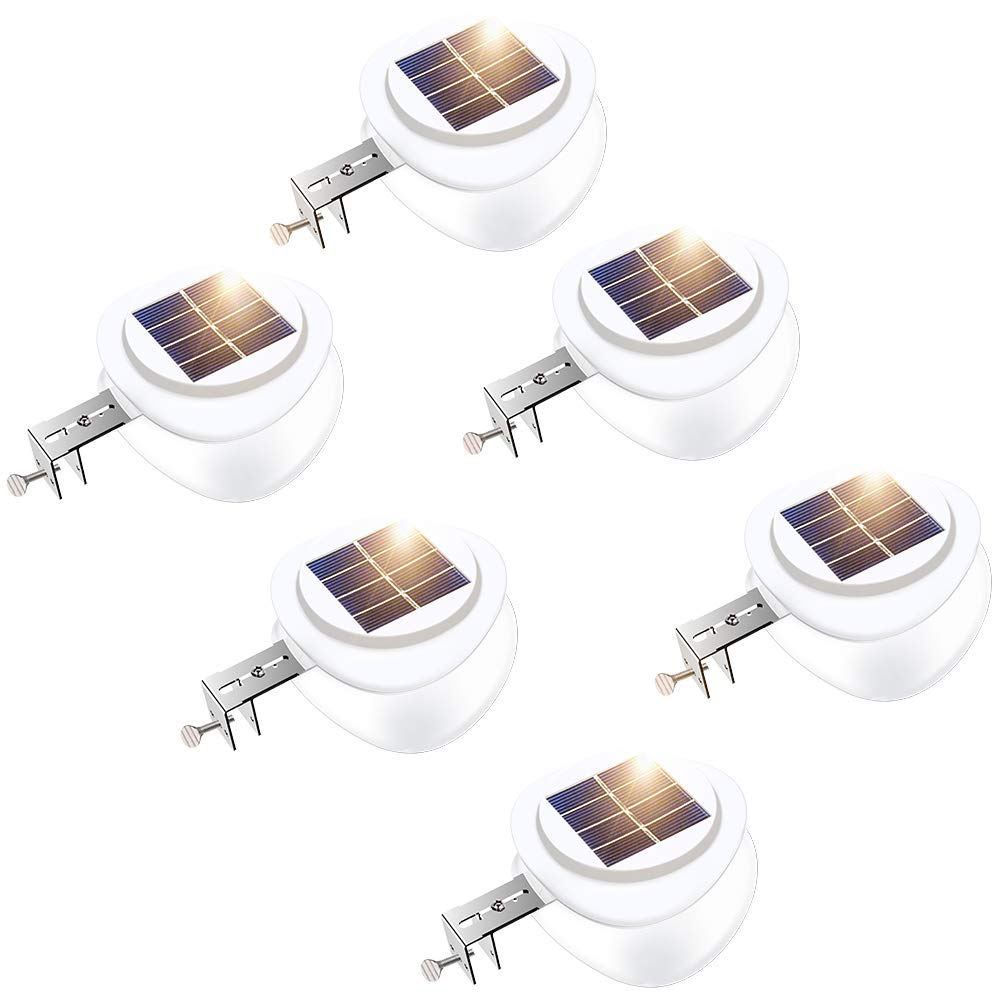 ROSHWEY Solar Fence Lights, Outdoor 9 LED Gutter Light Waterproof Security Lamps for Eaves Garden Landscape Walkway (Warm White, 6 Pack)