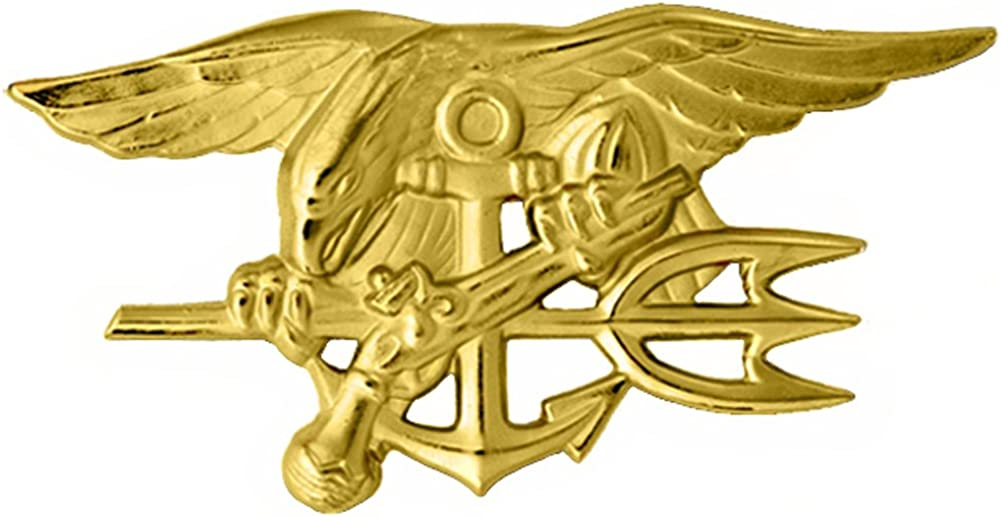 U.S. Navy Seal Badge Special Warfare Large Gold Finish