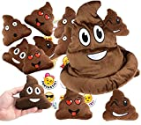 Emoji Poop Pillow Party Favors for 12 - 12 Small Emoji Pillows (5 inch) and 1 emoji poop plush hat and 1 pack of 12 emoji stickers