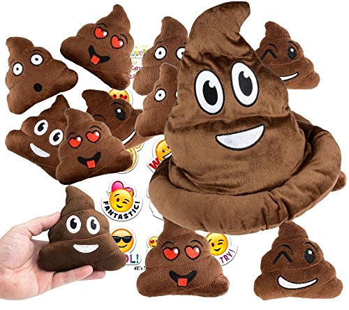 (4E's Novelty Emoji Poop Pillow Party Favors for 12 - 12 Small Emoji Pillows (5 inch) and 1 Emoji Poop Plush hat and 1 Pack of 12 Emoji Stickers)