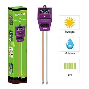 Sonkir Soil pH Meter Moisture Tester Gardening Tool Kits