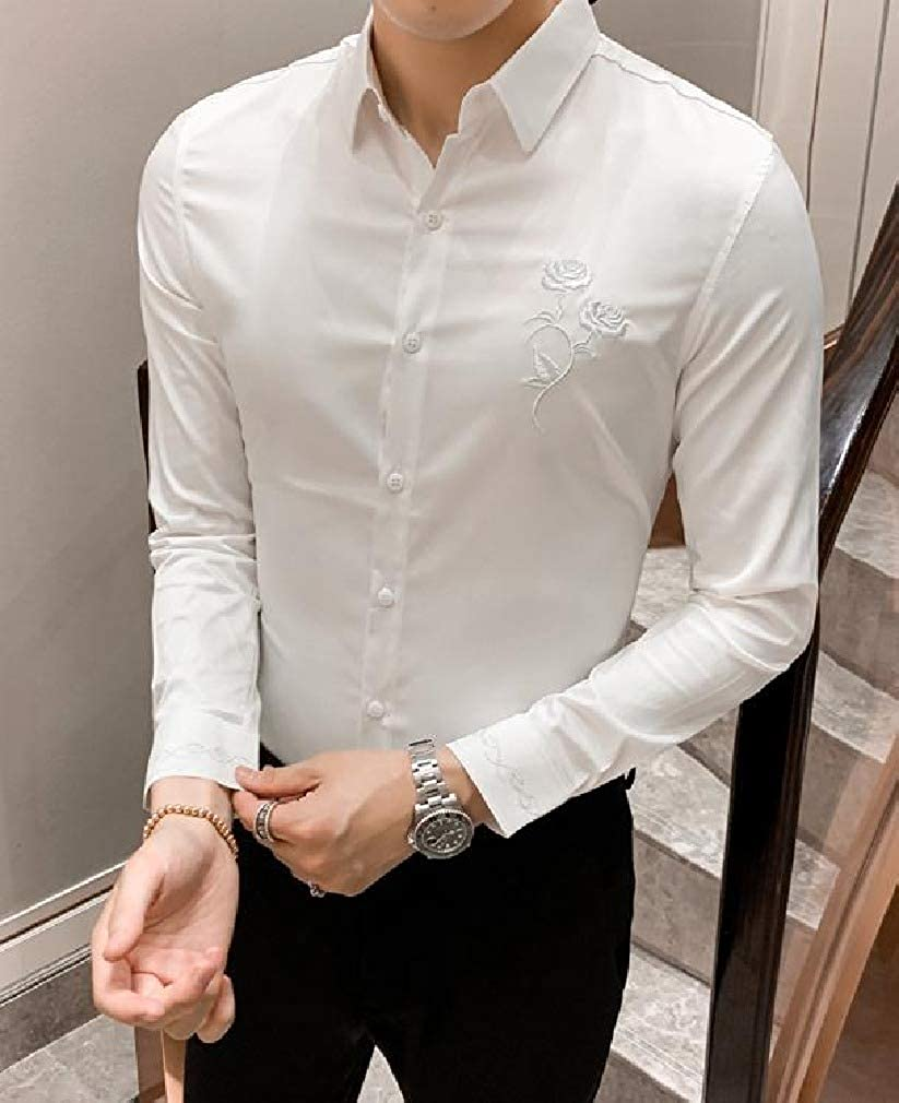 Doufine Mens Teenagers Slim Fit Floral Embroidery Long-Sleeve Britain Longshirt
