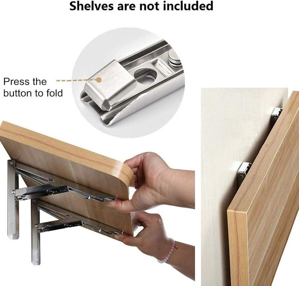 silver Load 150 kg Blingbin 1 Pair of Folding Shelf Brackets Heavy Duty Stainless Steel Folding Shelf Stand for Workbench Space Saving DIY Stand