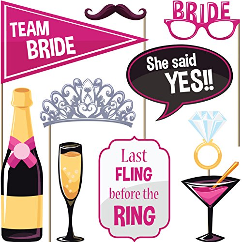 [Bachelorette Party Photo Booth Props (Set of 22) - Girls Night Out Games] (Hen Night Costume Accessories)