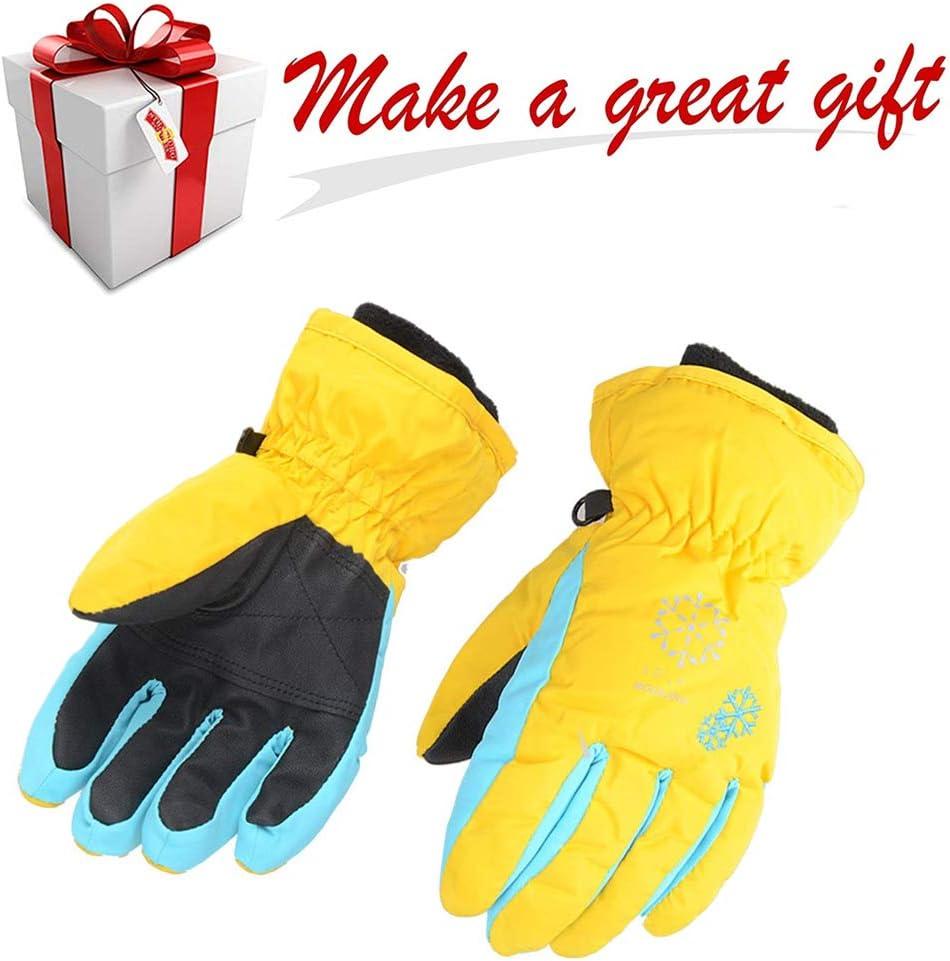 Avril Tian Kids Winter Waterproof Warm Colorful Snow Ski Gloves Children Snowboard Gloves for Boys Girls XS, Yellow