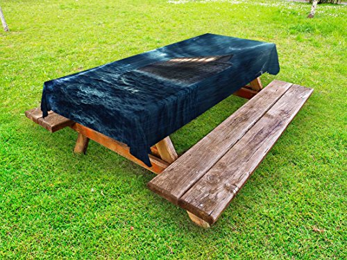 - Ambesonne Nature Outdoor Tablecloth, Old Nostalgic Wooden Boat Ship During Rain and Thunder Storm Scary Dramatic Scene, Decorative Washable Picnic Table Cloth, 58 X 120 Inches, Blue Brown