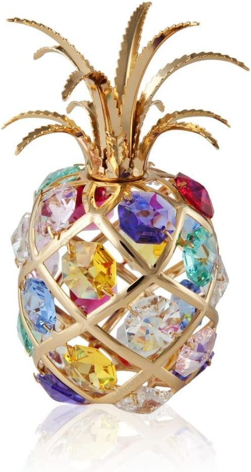 Matashi 24K Gold Plated Pineapple Ornament with Colored Crystals Tabletop Showpiece for Living Room Gift for Chritsmas Birthday New Year Wedding Anniversary Holiday Home Office Decor