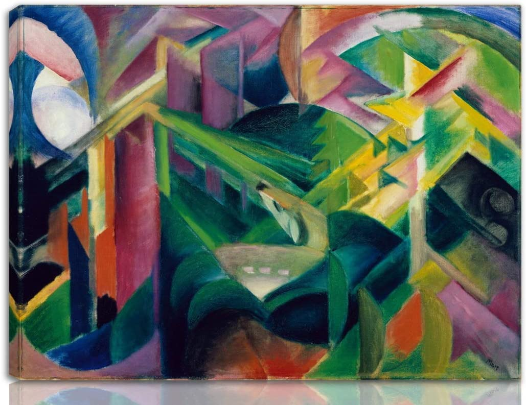 Berkin Arts Franz Marc Stretched Giclee Print On Canvas-Famous Paintings Fine Art Poster-Reproduction Wall Decor Ready to Hang(Deer in a Monastery Garden)#NK