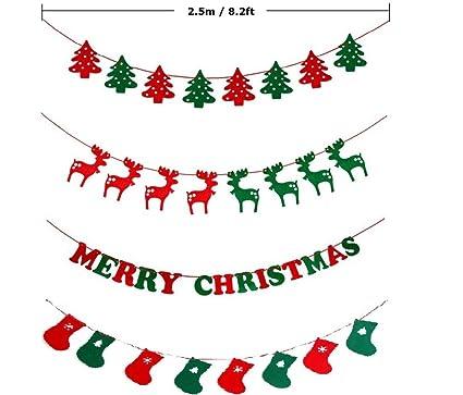 Battiphee 4 en 1 decoración de Navidad, fieltro de lana, Navidad, árbol de