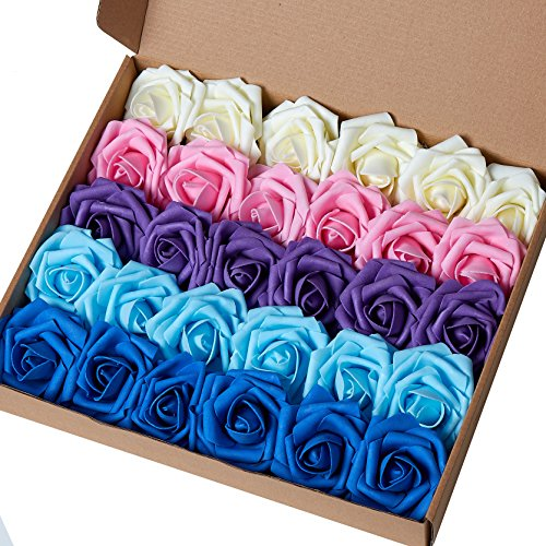 Marry Acting Artificial Flower Rose, 30pcs Real Touch Artificial Roses for DIY Bouquets Wedding Party Baby Shower Home Decor (Gradual Change Color 2)