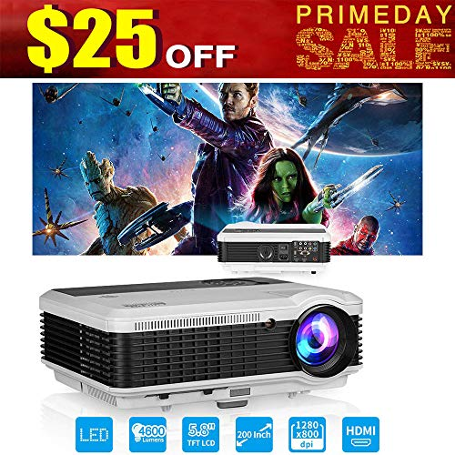 EUG LCD LED Multimedia HD Video Projector 4600 Lumens 1280x800 1080P Digital Movie Gaming Projector HDMI USB TV AV VGA Audio for Laptop PC Smartphone DVD PS4 Xbox Wii Home -
