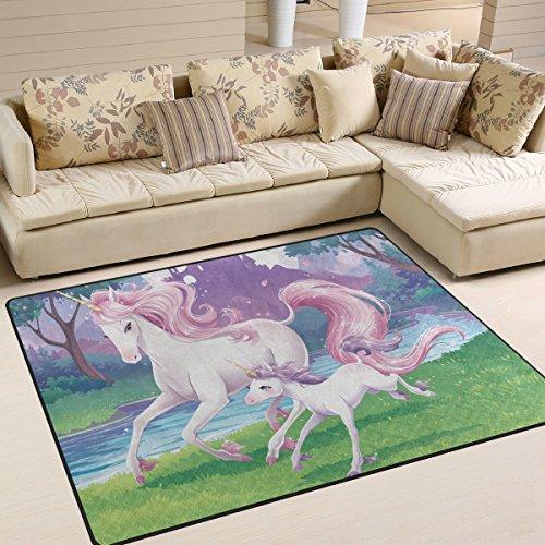 Aideess Pink Unicorn Area Rugs for Living Room Bedroom 7'x5', Kids Children Carpet Rug Non-Slip Floor Mat Resting Area Doormats