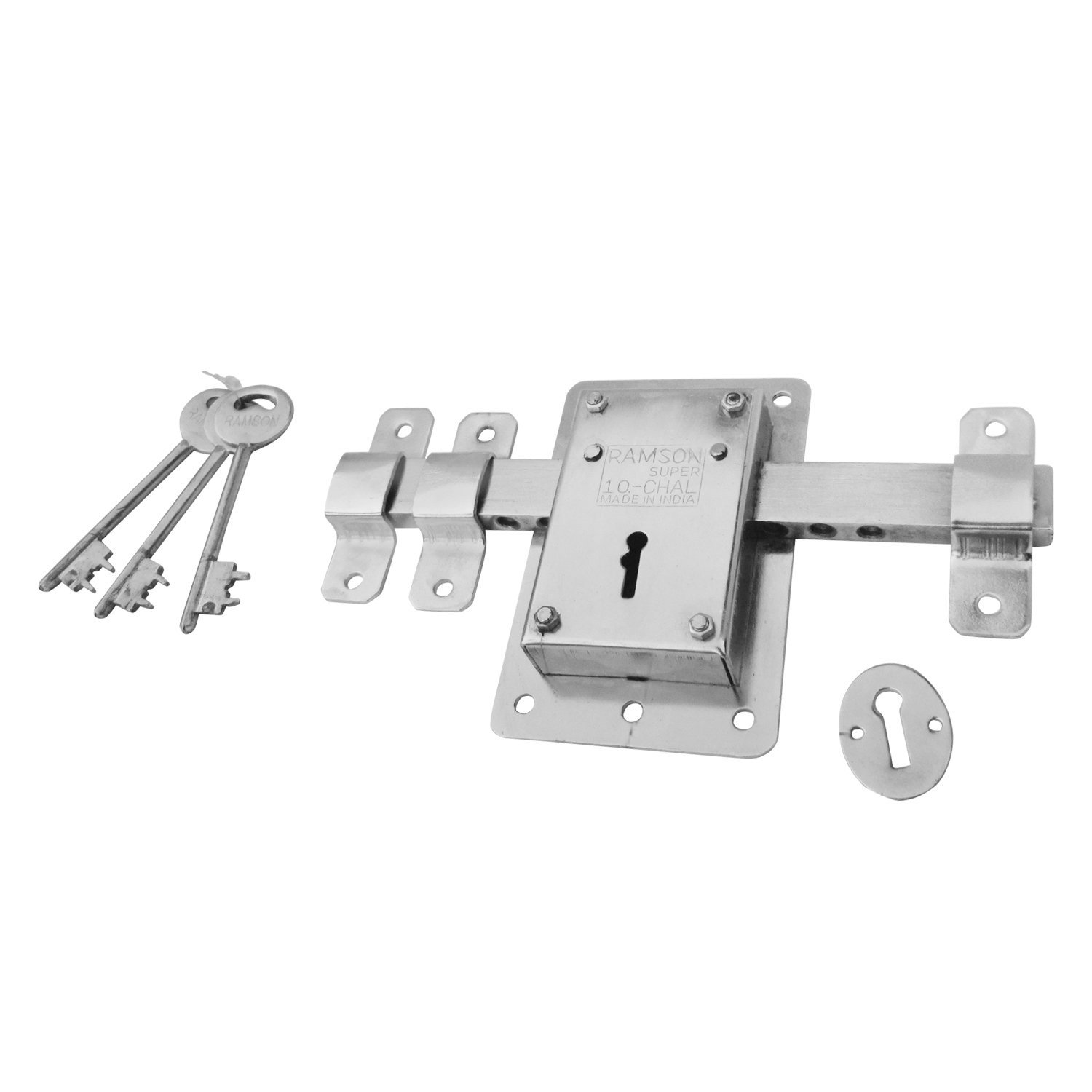 RAMSON 10 Chal Iron Door Lock with 3 Keys for High Security Operated from Both Side of The Door (Steel Colour_142)