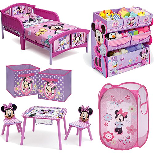 Disney Delta Children Minnie Mouse 8-Piece Furniture Set - Plastic Toddler Bed, Table and Chair Set, Multi Bin Toy Organizer, 2-Pack Storage Cube and Pop Up (Home Made Costume Mouse)
