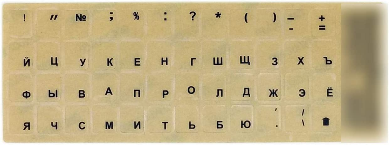 Transparent Russian Keyboard Stickers Matte Surface Anti Glare Keyboard Covers Stick Firmly for White Key