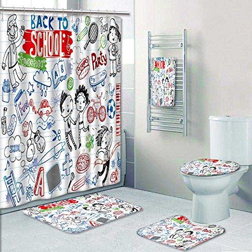 PRUNUSHOME Designer Bath Polyester 5-Piece Bathroom Set,school doodles vector set Print bathroom rugs shower curtain/rings and Both Towels(Large) by PRUNUSHOME