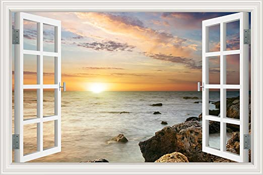 Huge Window Wall sticker Sea Ocean Wave Vinyl Decor 3d Mural Art Home Removable