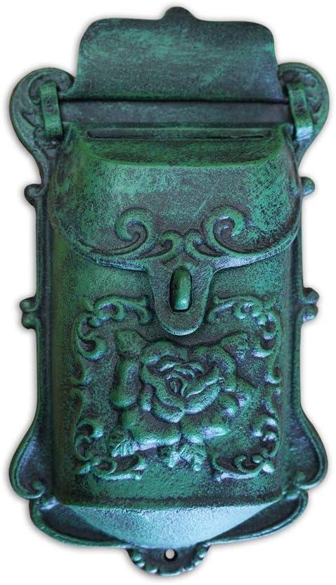 Green NACH DY-2913AG Cara Mailbox Brown Cast Iron Large
