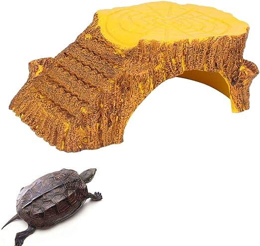 POPETPOP Reptil Ocultar Resina Grande Cueva + Plataforma Escalada Escalera Acuario Decoración para Tortugas Ranas Serpientes Gecko Leopardo: Amazon.es: Productos para mascotas