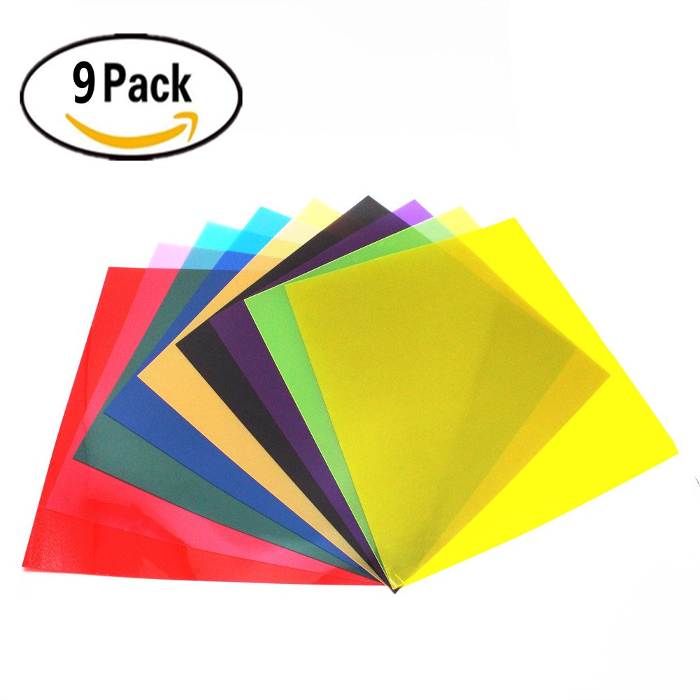 RenBa 12 x 12-Inches 9 Pack Transparent Color Correction Lighting Gel Filter , Correction Gel Light Filter Sheet ,9 Assorted Colors