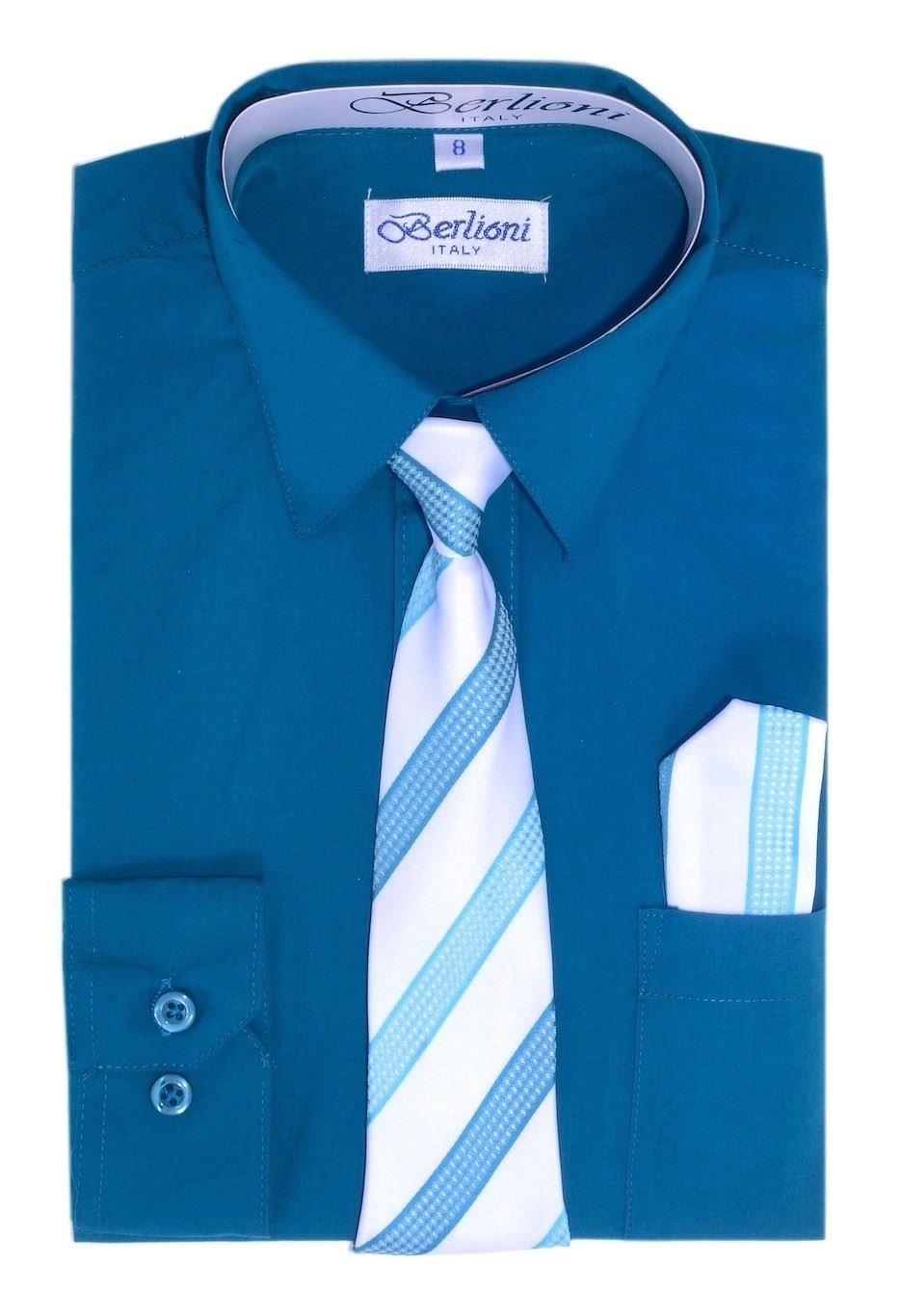 Berlioni Italy Kids Boys Dress Shirt with Tie & Hanky Long Sleeves Teal