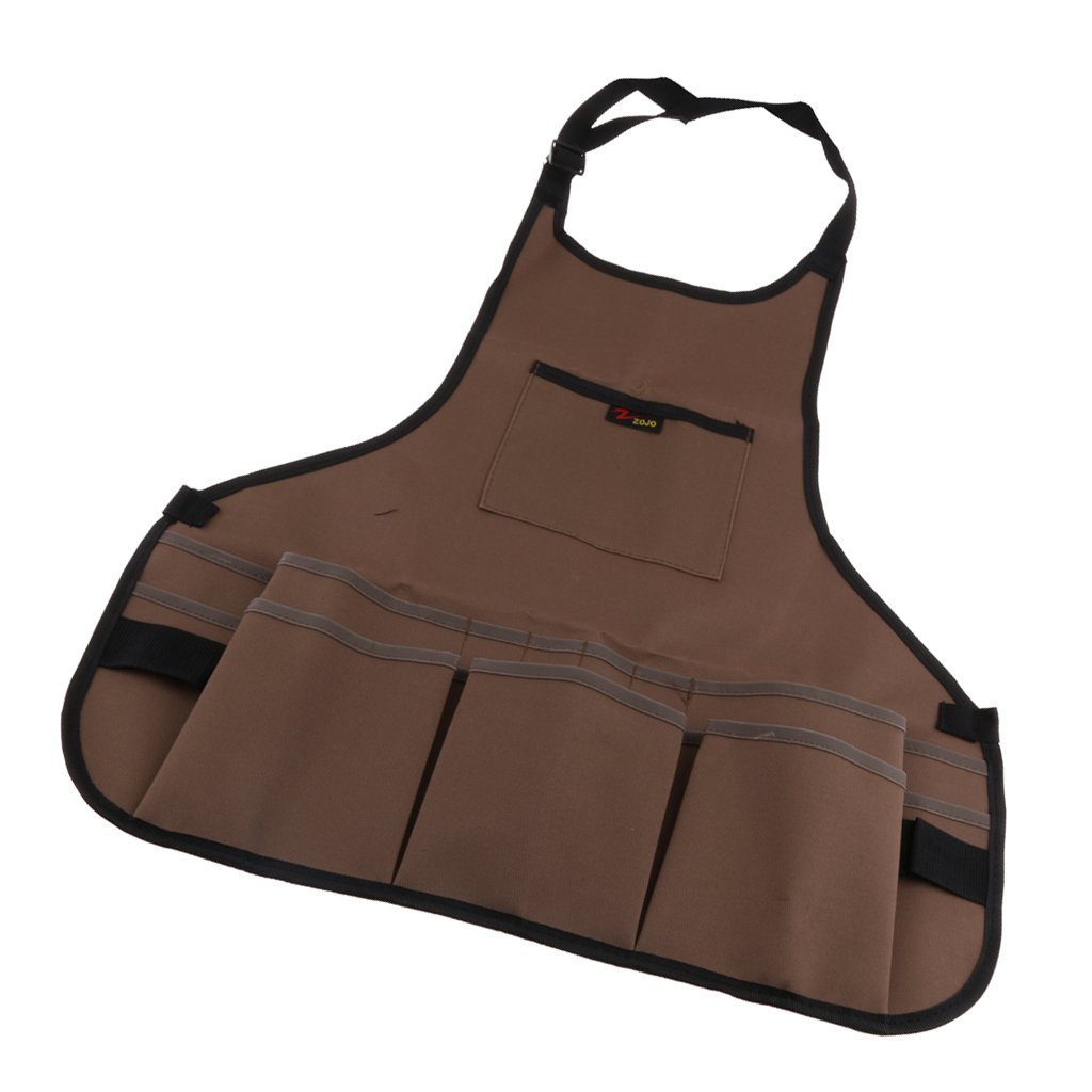 Dolity 2 Type Super Shop Apron Machinist Pockets Tools Woodwork Garden Aprons 65cm (25.59'') Long - Brown, 60x65x2cm