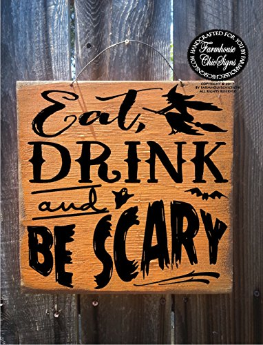 CELYCASY eat Drink be Scary Halloween Sign Halloween Decor Halloween Decoration Halloween Halloween Signs]()