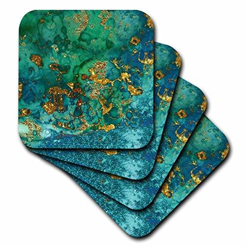 3dRose Uta Naumann Faux Glitter Pattern - Art print of Green Indigo Gold Marble Agate Mineral Malachite Quartz - set of 4 Ceramic Tile Coasters (cst_275046_3)