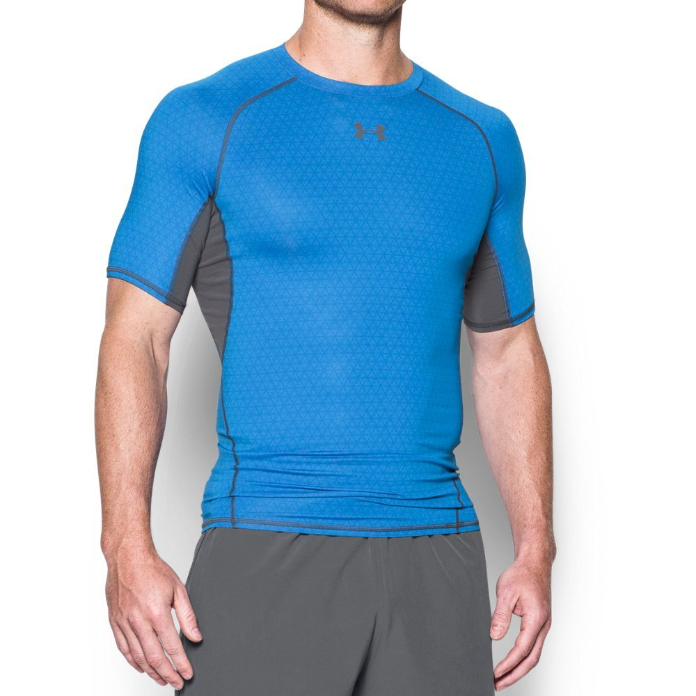 Under Armour Men's Heatgear Armour Printed Short Sleeve Compression Shirt,Mako Blue (983)/Graphite, Small by Under Armour (Image #1)