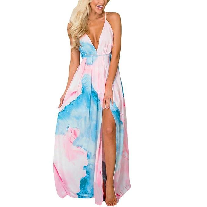 f48d1d5264c8 VIASA Women s Gradient Print Bandage Summer Dress Sexy Bohemia Fashion  V-Neck Long Backless Dress