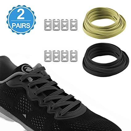 e4963b854d14 Airror Elastic No Tie Shoelaces for Kids and Adults (2 Pairs Black+Yellow)