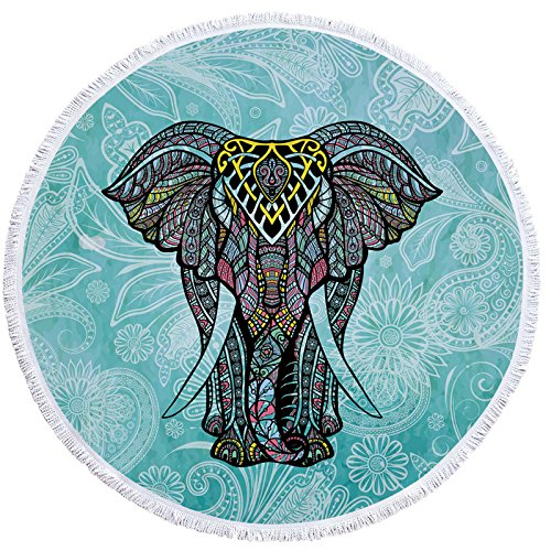 Elephant Thick Round Beach Towel Blanket | Throw Indian Mandala Tapestry Tassel fringe| Microfiber | Bohemian Circle Style | Oversized Extra Large 60 Inch |Yoga Mat |Table cover (Beach Elephant)