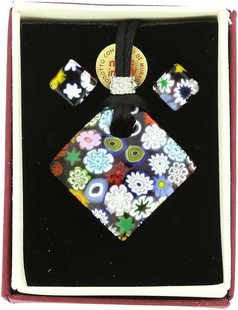Diamant GlassOfVenice Ensemble Collier et Boucles doreilles Millefiori en Verre de Murano