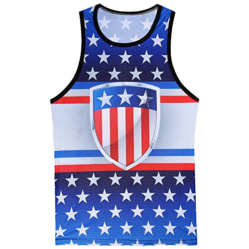 (huoaoqiyegu - Men American Flag Tank Top,Independence Day Sleeveless Breathable Patriotic Sport Vest Blue)