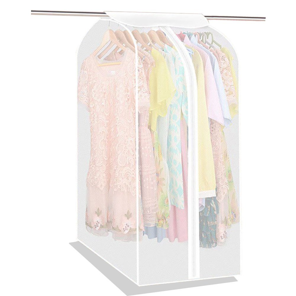 Large Translucent Clothing Care Garment Rack Cover PEVA Cloth Protector Wardrobe Hanging Storage Bag Dust Protector Cover with Magic Tape and Zipper YFZ01 ZhuoLang