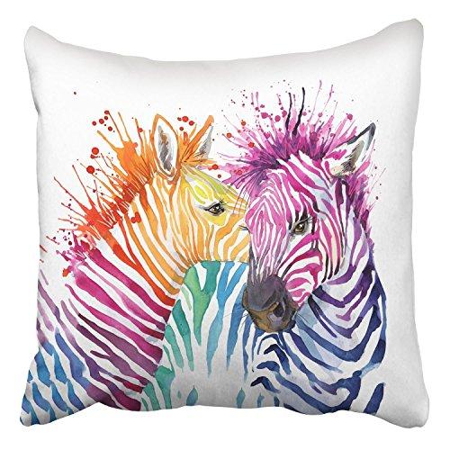 Emvency Throw Pillow Covers Funny Zebra Graphics Rainbow Zebra Splash Watercolor D Watercol Decor Pillowcases Polyester 16 X 16 Inch Square Hidden Zipper Home Cushion Decorative (Curve Rainbow Zebra Cover)