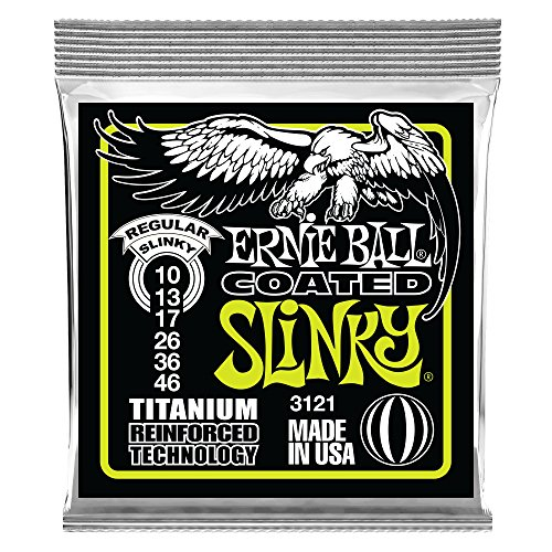- Ernie Ball Coated Electric Titanium RPS Regular Slinky Set, .010 - .046