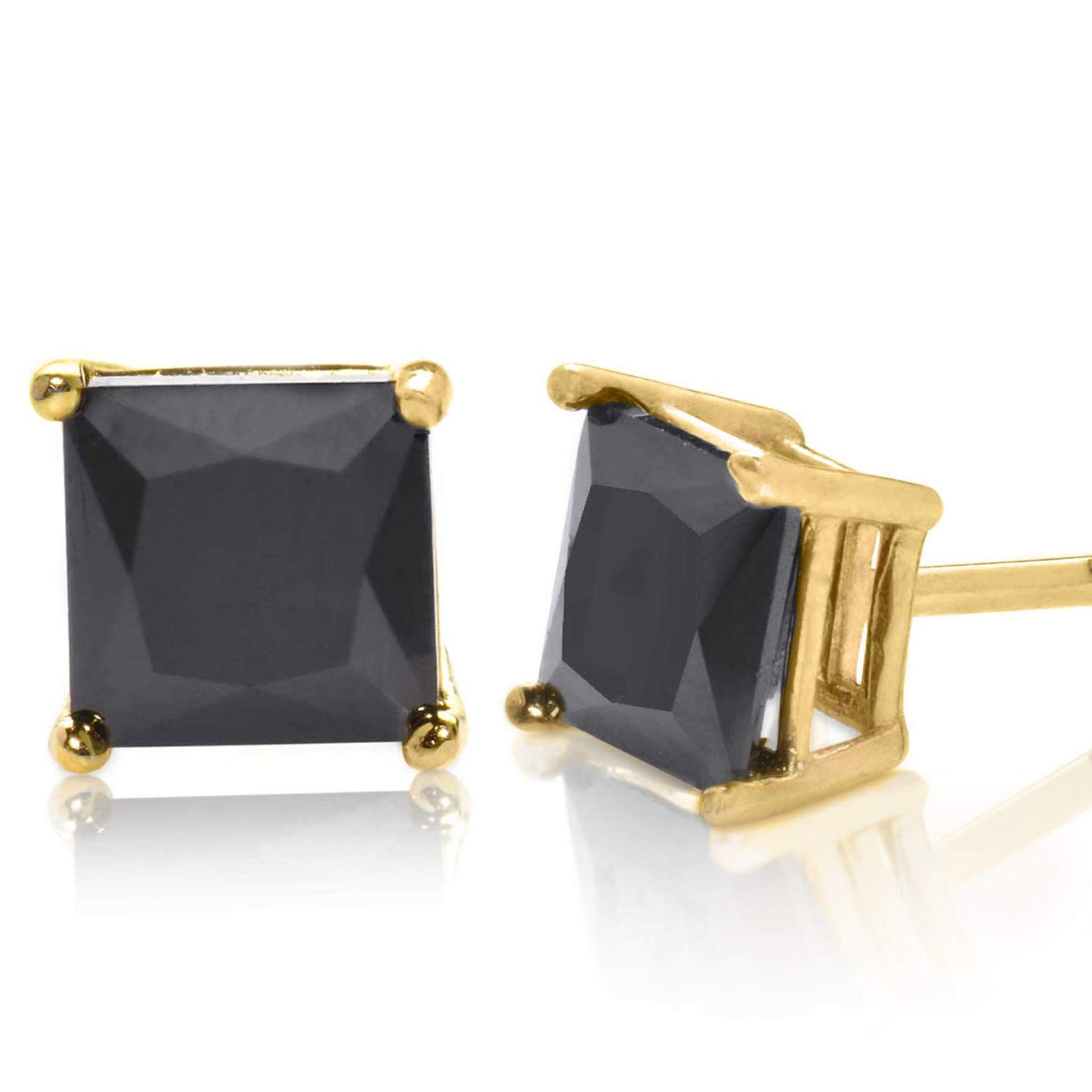 Radiant Princess Square Cut Black CZ Unisex Stud Earrings Gold Plated 925 Sterling Silver 8x8mm