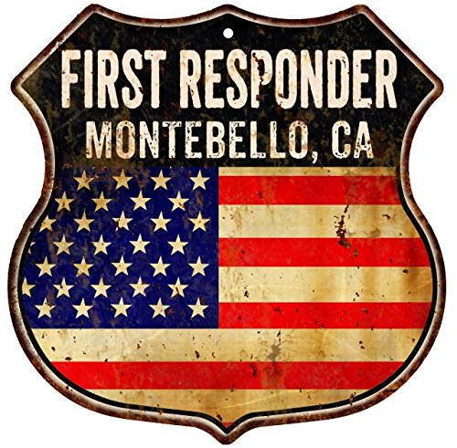 MONTEBELLO, CA First Responder American Flag 12x12 Metal Shield Sign - Ca Montebello