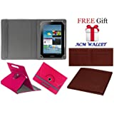 Acm Rotating Leather Flip Case for Samsung Galaxy Tab 2 P3100 Tablet Cover Stand Dark Pink (FREE Acm Wallet Included)