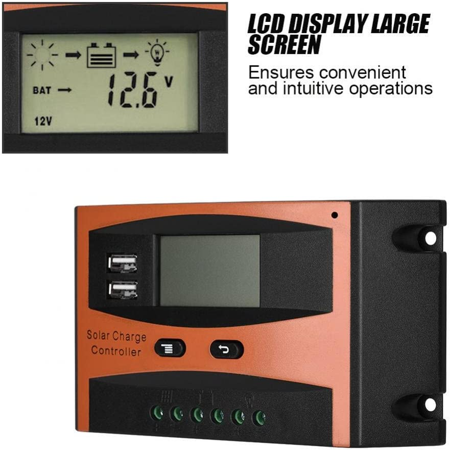 Solar Panel Controller PWM Auto Paremeter Adjustable LCD Display Solar Panel Battery Regulator with Dual USB 30A Zerone 30A//20A 50V Solar Charge Controller