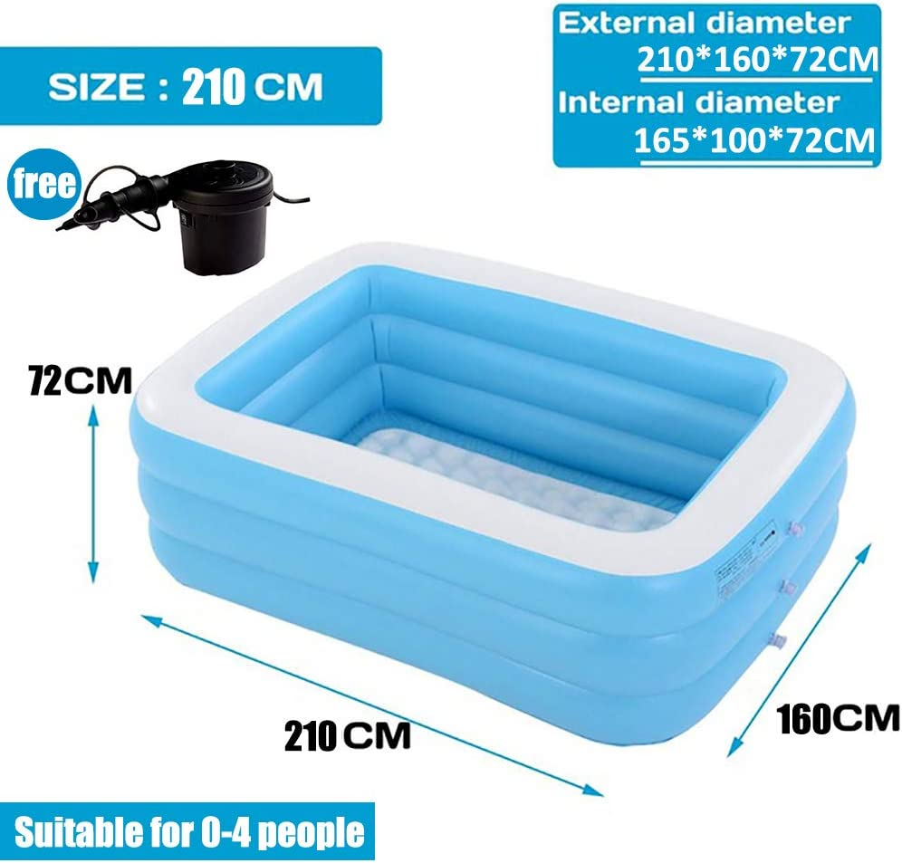 Piscina Hinchable Infantil, Azul Rectangular De Tamaño Real Piscinas Easy Set Kiddie con Bomba Y Kit De Parches, para Los Niños, Adultos, Bebés, Niños(con Capacidad para 12 Personas),2.1m 4layers