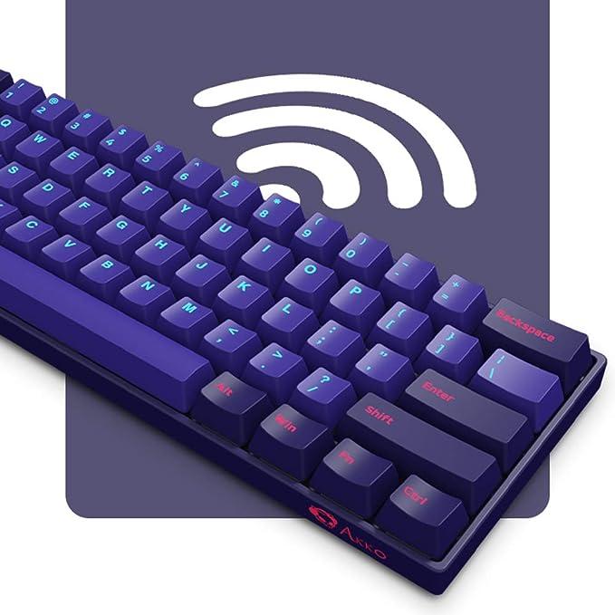 EPOMAKER AKKO NEON 3061 60% RGB Bluetooth 5.0 Inalámbrico/Cableado NKRO Teclado mecánico, programable con doble disparo PBT Teclas (Gateron Pink ...