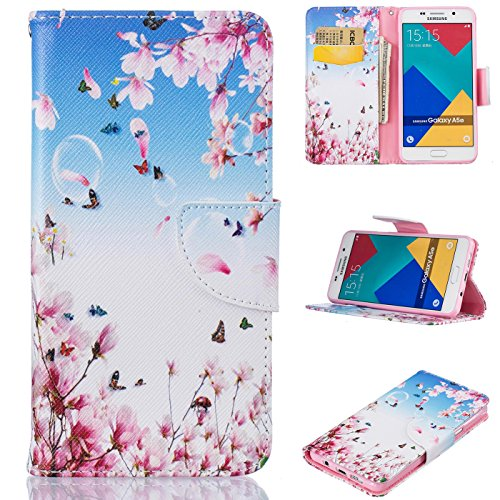 Price comparison product image Galaxy A5 2016 / A510 Case,  Firefish PU Leather Wallet Case [Card Slots] [Kickstand] Magnetic Closure Scratch Resistant Protect Case for Samsung Galaxy A510 2016 -Flower-C